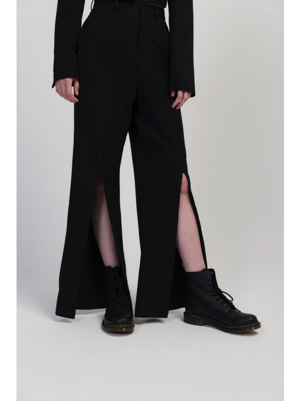 Women's Front Slit Loose Suit Pants